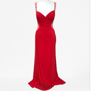 Jovani JVN 93844 Red Mesh Sequin Prom Gown Size 6